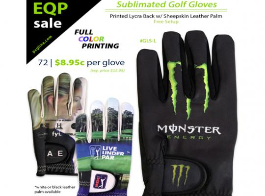 Sublimated Custom Golf Gloves in Full Color